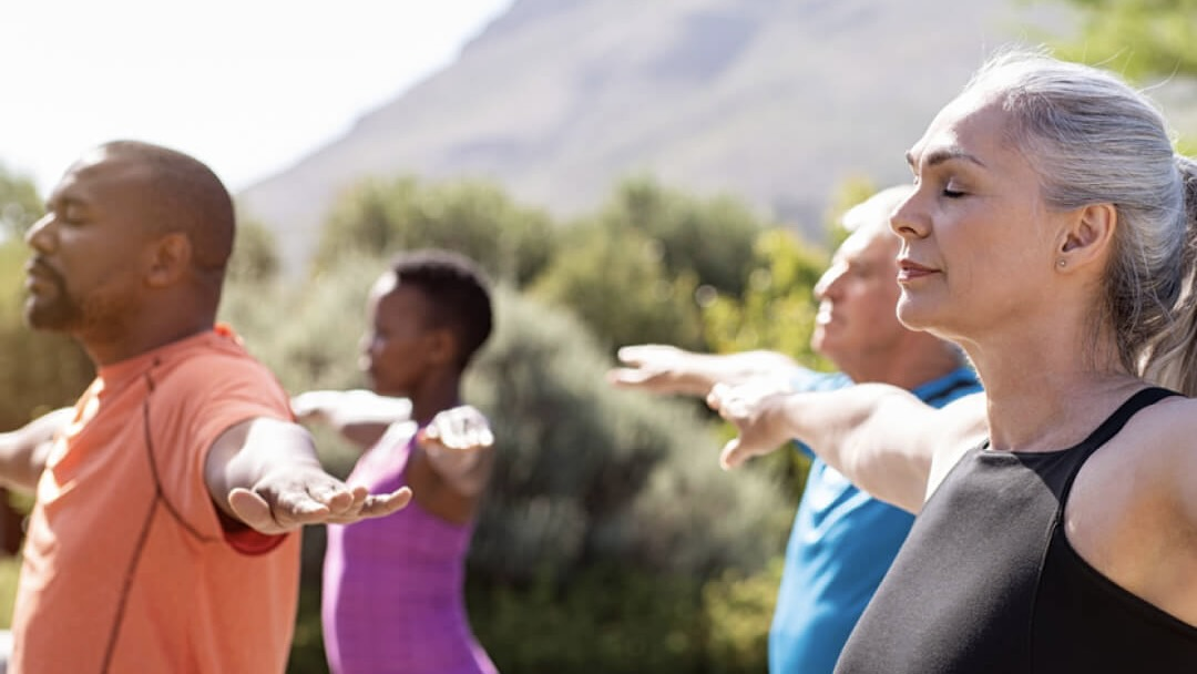 AOR lifestyle image with people practicing yoga
